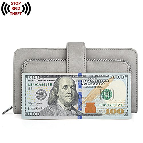 UTO Women PU Leather Wallet RFID Blocking Large Capacity 15 Card Slots Smartphone Holder Snap Closure D Grey by UTO (Image #4)