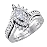 Dazzlingrock Collection 0.95 Carat (ctw) 14K Gold Marquise & Round Diamond Ladies Engagement Ring Matching Band Set 1 CT