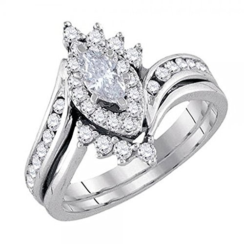 White Gold 1 Carat Marquise (0.95 Carat (ctw) 14K White Gold Marquise & Round Diamond Engagement Ring Band Set 1 CT (Size 9.5))