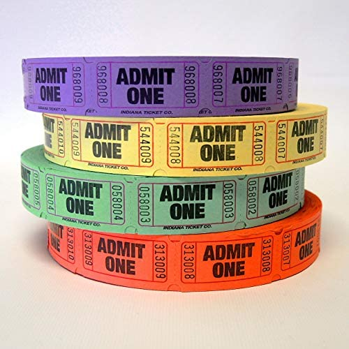Pm Company Admit One Single Ticket Roll Numbered Assorted 2000 Tickets//Roll