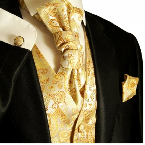 Paul Malone Wedding Vest Set Cream Gold 5pcs Tuxedo Vest + Necktie + Ascot + Hanky + 2 Cufflinks XXL