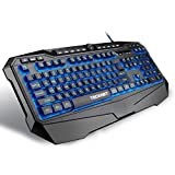 TeckNet Gaming Keyboard Gryphon LED Backlit Illuminated Programmable Wired Gaming Keyboard with Ergonomic Wrist Rest, Spill-Resistant Design, US Layout