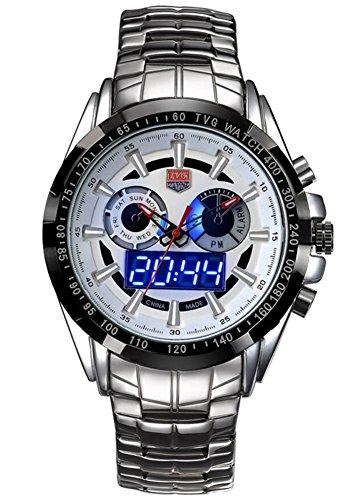 Mens Watches Top Brand Luxury Tvg Men Military Sport Luminous Wristwatch Clock Male Full Steel Quartz Watch Relogio Masculino  White