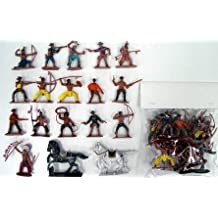 Cowboys & Indians Playset #1 (16 Figures w/Weapons & 2 Horses) (Bagged) 1/32 Playsets