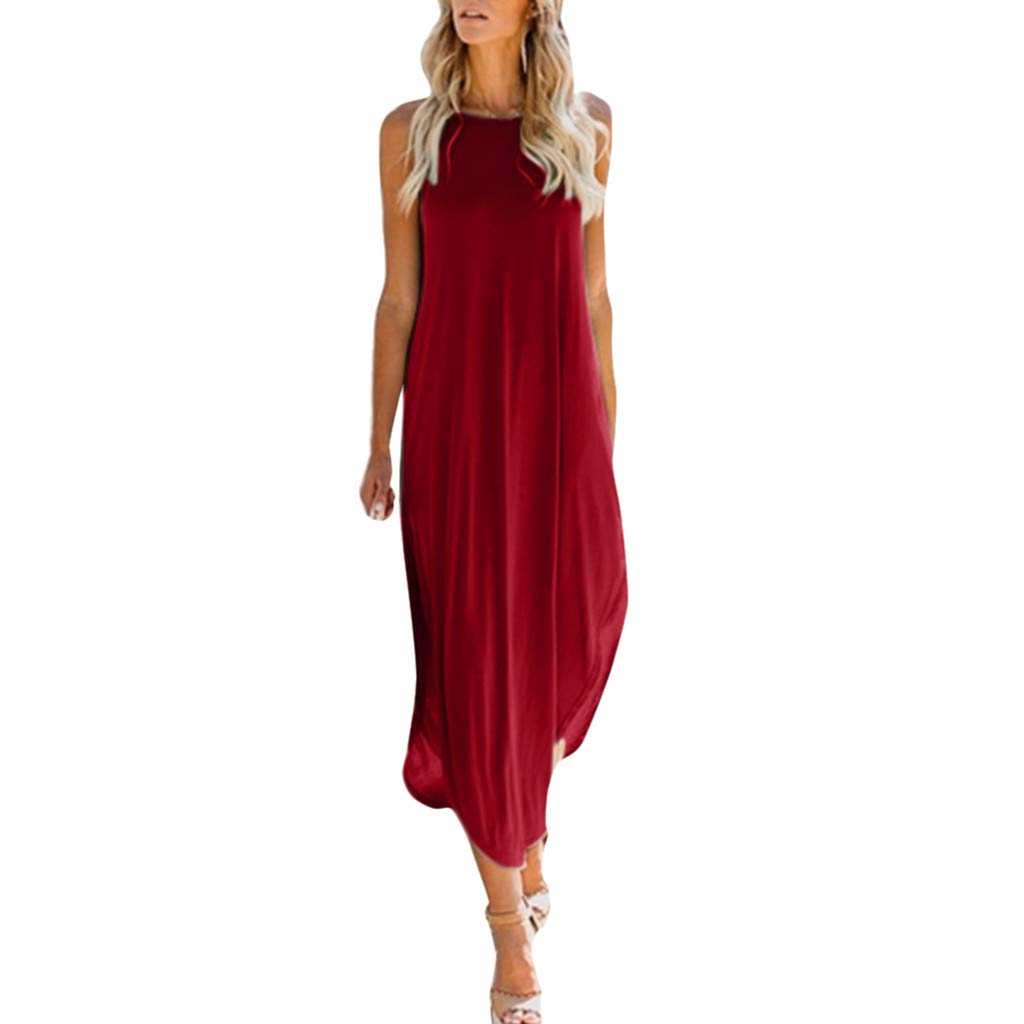 Side Split Dress, Womens Summer Sleeveless Solid Strap Casual Loose Midi T-Shirt Tunic Dress (M, Red)