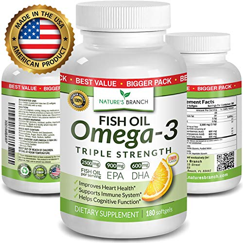 Best Triple Strength Omega 3 Fish Oil Pills ★ 180 Capsules ★ 2500mg HIGH Potency Lemon Flavor 900mg EPA 600mg DHA Pure Burpless Liquid Capsules Brain Joints Eyes Heart Health Supplement