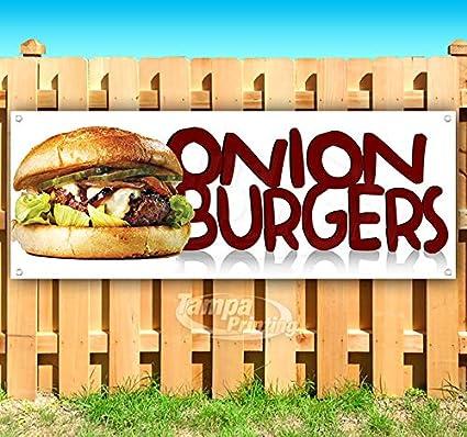 Cartel de vinilo resistente de Onion Burgers con ojales de ...