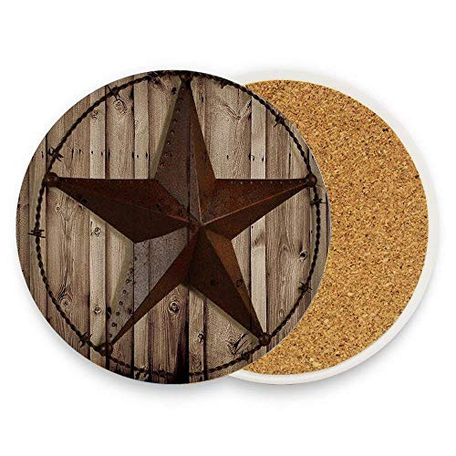 Lovingin Western Texas Star Ceramic Coaster Glass Cup Holder Coffee Mug Place Mat for Drinks Pack Of ()