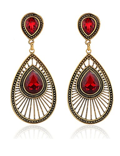 LIKEOY Red Rhinestone Fashion Art Deco-Style Teardrop Dangle Earrings