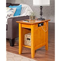 Atlantic Furniture AH13317 Nantucket Side Table Rubberwood, Caramel Latte