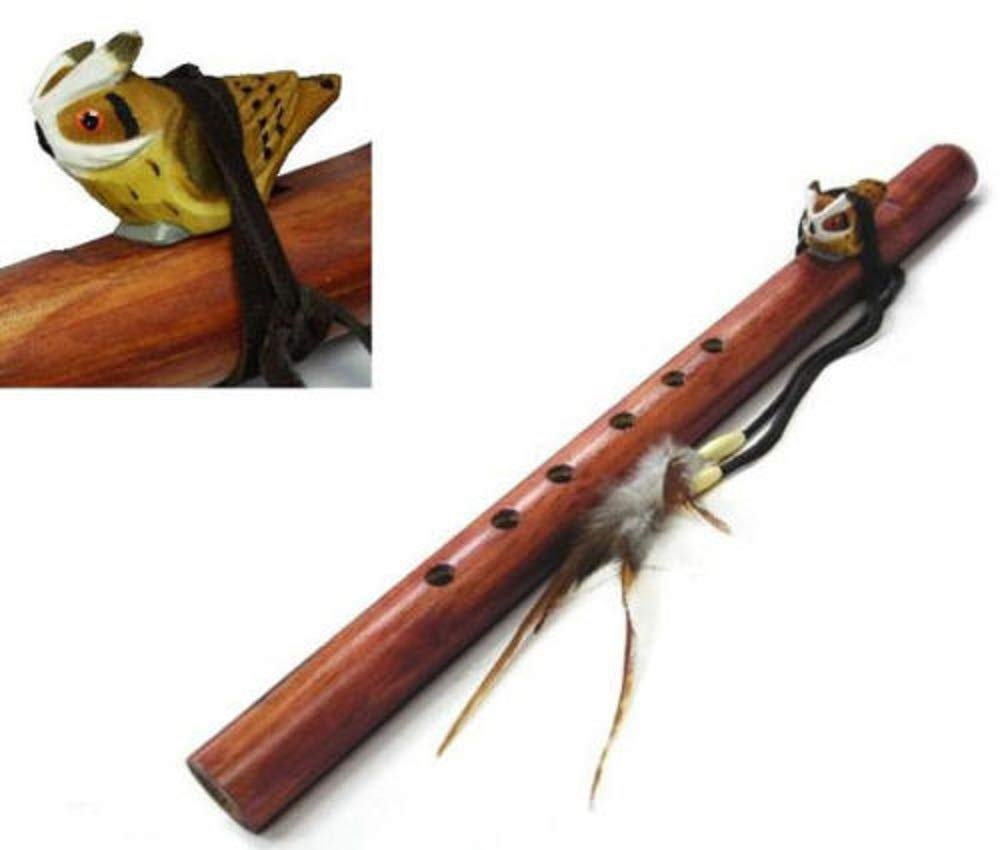 Large Wooden Flute With Wooden Owl Wrapped On Top With Feathers