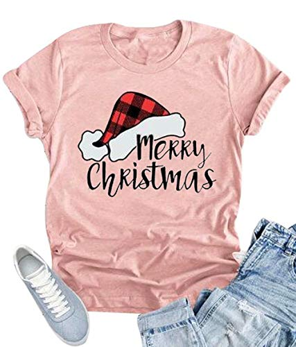 Short Top Sleeve Hat T-shirt (KIDDAD Women Merry Christmas Santa Plaid Hat Cute T-Shirt Short Sleeve Letter Print Tops Size L (Pink))