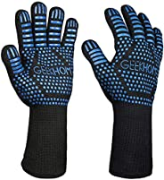 GEEKHOM BBQ Gloves,1472℉ Heat Resistant Grill Gloves, Non Slip Oven Mitts for Smoker, Cooking & Fire Pit (