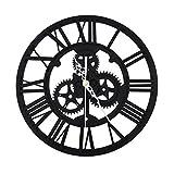 SING F LTD Classic Round Roman Numeral Steampunk Wall Clock Living Room Decor 30MM, Black