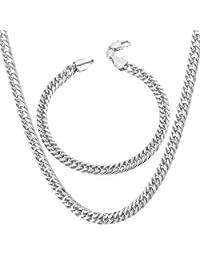 """Chain Set Men Jewelry 18K Stamp Gold Plated/Platinum/Rose Gold/Black Gun Plated Franco Curb Chain Bracelet Necklace,6mm Wide,Bracelet 8.3""""/Necklace 18-30 Inches"""
