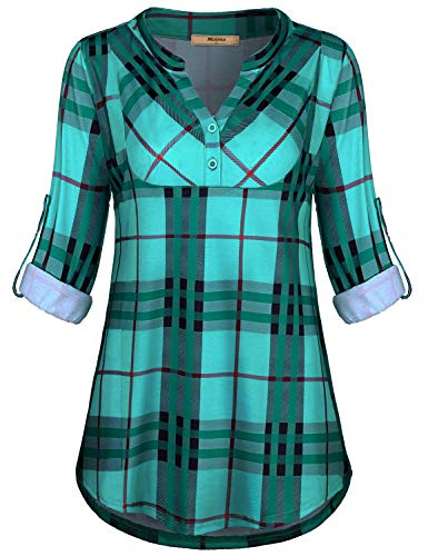 Miusey Plaid Flannel Shirt Women,Ladies Mandarin Callor Rolled Sleeve Henley V Neck Fashion 2018 Career Blouse Swing Hemline Dressy Tops for Work Green L ()