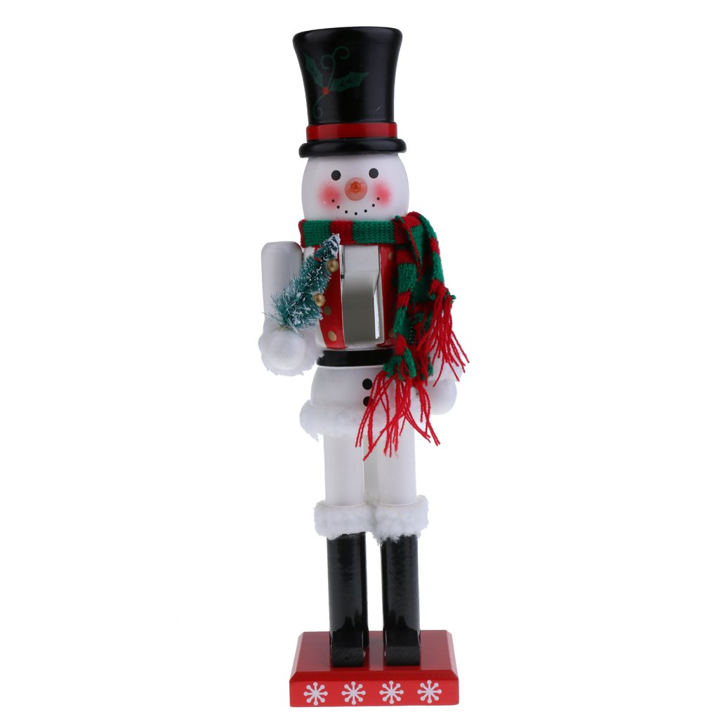 Jili Online 38cm Handcraft Wooden Nutcracker Figurine Snowman Puppet Christmas Ornaments Friends Kids Gifts Office Home Decoration and Display