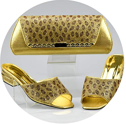 Price comparison product image Silver Color Italian Shoe with Matching Bags African Shoe and Bag Set for Party in Women Nigerian Shoes and Bag Set, Gold, 8.5