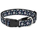 Buckle-Down Anchor2/Helm Monogram Navy/Turquoise/White Martingale Dog Collar, 1.5