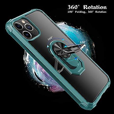 Langhuadd Kompatibel mit iPhone11//pro//max H/ülle,Case Milit/ärische robuste R/üstungHarte PC zur/ück Fall mit Ring 360 Grad Kickstand /& Unterst/ützung magnetische Auto-Mount