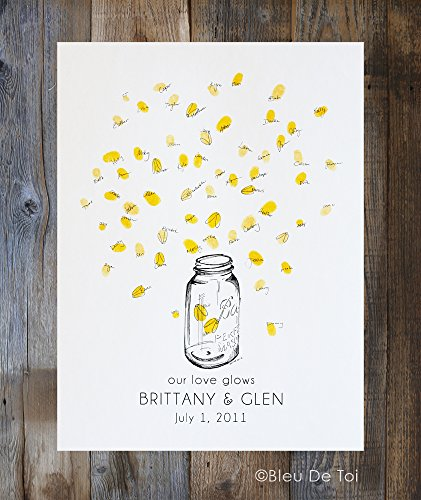 Mason jar with thumbprint fireflies, Guest book fingerprint alternative art 1 ink pads and 1 ()