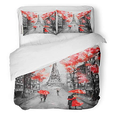 "Tarolo Bedding Duvet Cover Set Oil Painting Paris European City Landscape France Eiffel Tower Black White and Red Modern Couple Under Umbrella 3 Piece King 104""x90"" Quilt Cover with Zipper Closure"