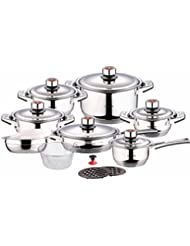 Swiss Inox Si-7000 18-Piece Stainless Steel Cookware Set, Includes Induction Compatible Fry Pots, Pans, Saucepan...