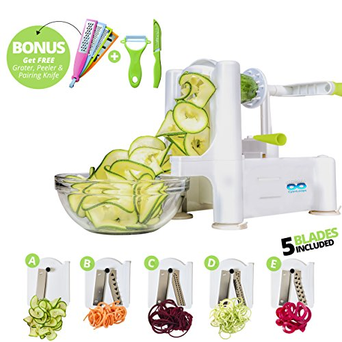 Vegetable Spiralizer 5-Blade Bundle (Bonus items include - 4 Graters, 1 Ceramic Peeler, 1 Ceramic Knife) - Cut & Slice Fruits or Vegetables for Low Carb & Healthy Kitchen, Strongest-and-Heaviest Duty