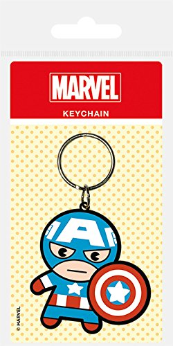 Pyramid International Marvel Kawaii Captain America Rubber Keychain, Multi-Colour, 4.5 x 6 cm RK38468C