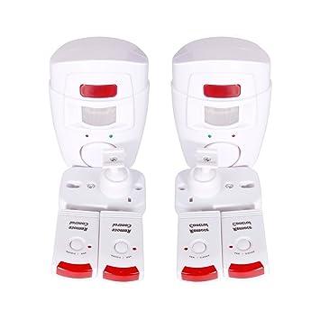 [2 paquetes] PIR inalámbrico infrarrojos hogar alarma detector de movimiento Alarma + 2 mandos