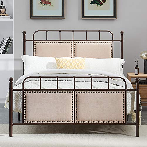 O&K Furniture Metal Bed Frame, Platform Bed Base Box Spring Replacement Foundation with Headboard&Footboard, Heavy Duty Simple Slat Support for Bedroom Guest Room, Quiet Noise-Free, Queen (Rustic Bed Industrial)
