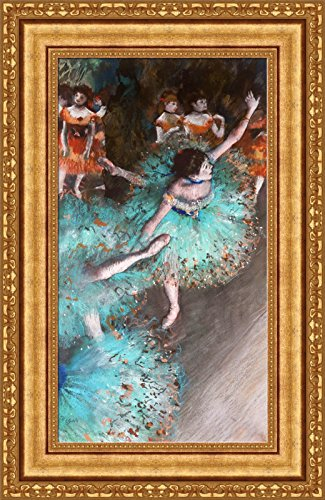 Edgar Degas The Green Dancer Framed Canvas Giclee Print - Finished Size (W) 18.1'' x (H) 28.1'' [Gold] (S13-19K-MD535-01) - Enhanced Image ()