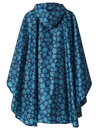 Cape Manteau Ponchos Capuche avec Bleue de Impermable LINENLUX Pluie Lger wg8wp