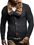 Leif Nelson LN7100 Men's Turtleneck Cardigan With Faux Fur Collar; Size US M/EU-L, Anthracite