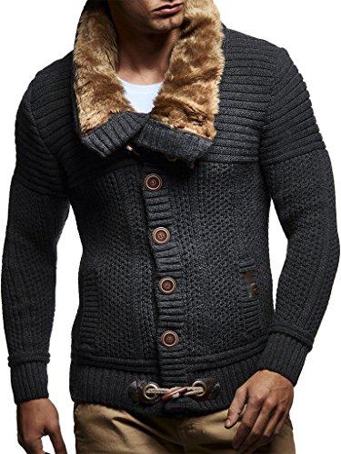 Cardigan Sweater Fur Faux - Leif Nelson LN7100 Men's Turtleneck Cardigan With Faux Fur Collar; Size US M/EU-L, Anthracite