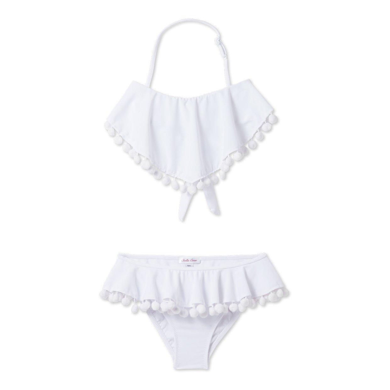 ccdaf507f1dc Amazon.com: Stella Cove White Flare Pom Pom Bikini (14): Clothing