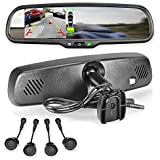 Master Tailgaters Rear View Mirror Ultra Bright 4.3 LCD Display for backup camera + 4 Parking Sensors
