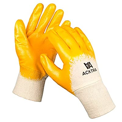 ACKTRA Nitrile Coated Cotton Jersey WORK GLOVES 12 Pairs / 1 Dozen , Knit Wrist Cuff , Multipurpose, for Men & Women , Blue Orange , Small Medium Large , WG001