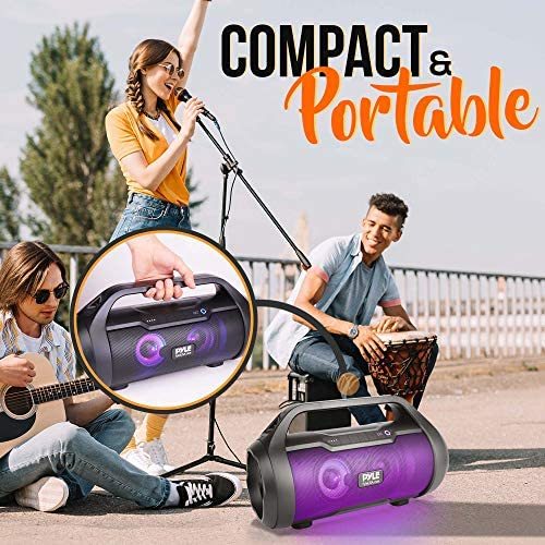 Wireless Portable Bluetooth Boombox Speaker – 500W 2.0CH Rechargeable Boom Box Speaker Portable Barrel Loud Stereo System with AUX Input/USB/SD/Fm Radio, 3″ Subwoofer, Voice Control – Pyle PBMWP185 51RldRTXPqL