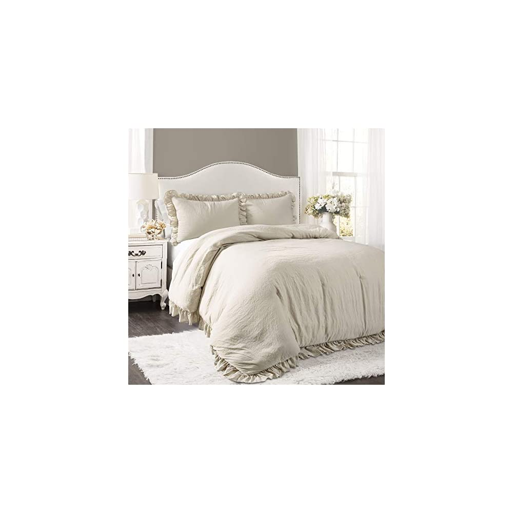 Lush Decor Wheat Reyna Comforter Ruffled 3 Piece Set with Pillow Sham Full Queen Size Bedding