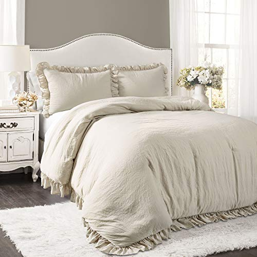 Lush Decor Wheat Reyna Comforter Ruffled 3 Piece Set with Pillow Sham King Size Bedding