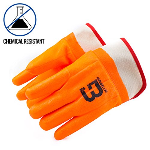 Better Grip BG105ORG Heavy Duty Premium Sandy finished PVC Coated-Supported Glove with Safety Cuff, Chemical Resistant, Large, Fluorescent Orange, Sanitation Gloves (12 Pair) by Better Grip (Image #2)
