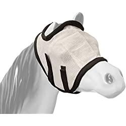 Tough 1 Miniature Horse Fly Mask without Ears Heavy Duty Nylon Mesh White, Large