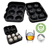 Ice Ball Maker Mold -Playmont Black Flexible Silicone Ice Tray - Moulds 6