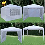 STRONG CAMEL EZ POP UP Wedding Party Tent 10'x10′ Folding Gazebo Beach Canopy with Sidewalls-WHITE Review