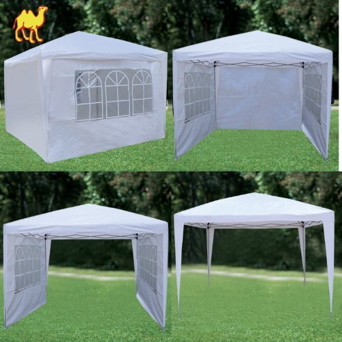Strong Camel EZ POP UP Wedding Party Tent 10'x10' Folding Gazebo Beach Canopy with Sidewalls-WHITE