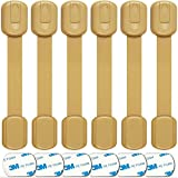 Baby Proofing Adjustable Safety Cabinet Locks by Oxlay | Child Proof Latches for Drawer, Dresser, Closet, Oven, Refrigerator, Cupboard | 6 Pack (Natural)