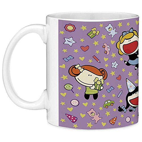 Funny Coffee Mug with Quote Birthday Decorations for Kids 11 Ounces Funny Coffee Mug Happy Children Cake Presents Bears Stars on Purple Backdrop Multicolor