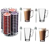Home Treats 56 Tassimo T-Disc Coffee Capsule Holder With 4 Free Latte Glasses and Spoons