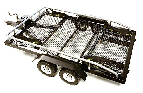 Integy RC Model Hop-ups C27734BLACK Machined Alloy Flatbed Dual Axle Car Trailer Kit for 1/10 Scale RC 640x370x110mm (1 10 Scale Rc Trailer For Sale)